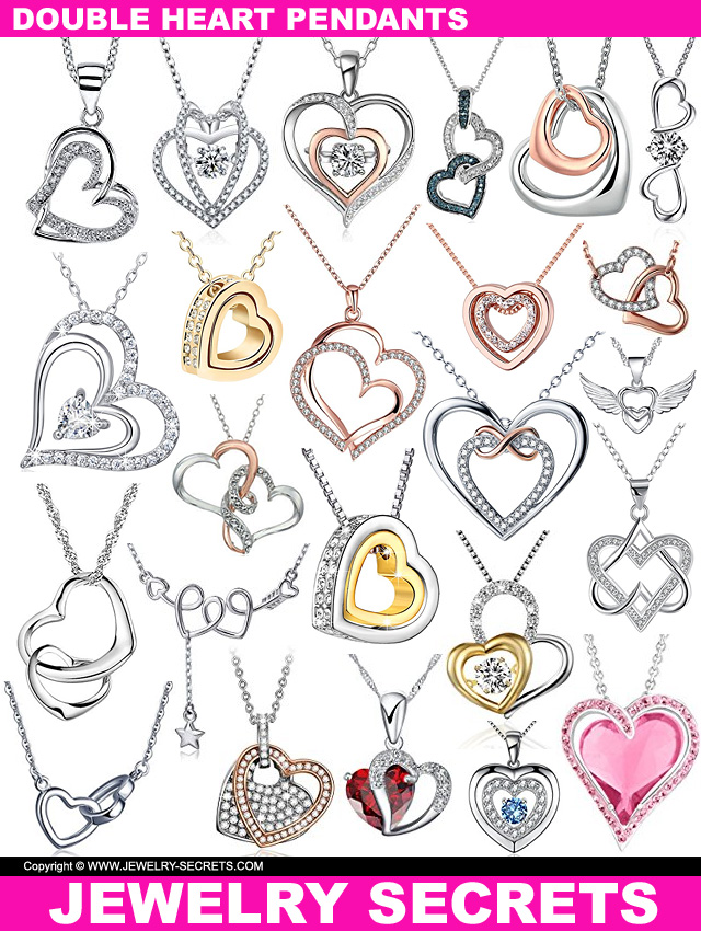 Double Heart Valentines Day Pendants