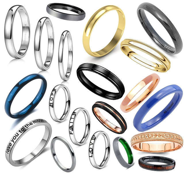 Mens 3 4mm Wedding Bands