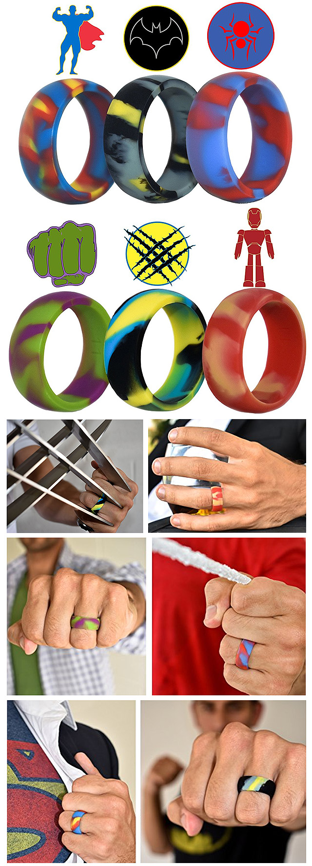It is a photo of SUPERHERO SILICONE RINGS – Jewelry Secrets