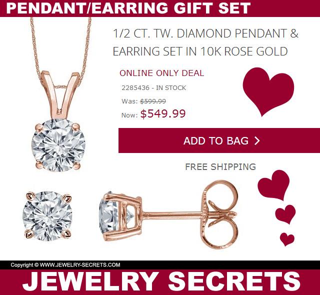 Valentines Rose Gold Diamond Pendant Earring Gift Set Online Only Deal