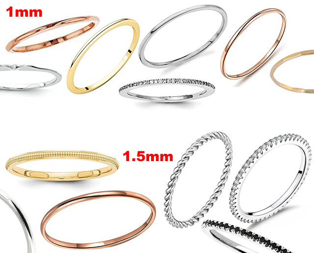 1mm and 1-5mm Thin Wedding Bands
