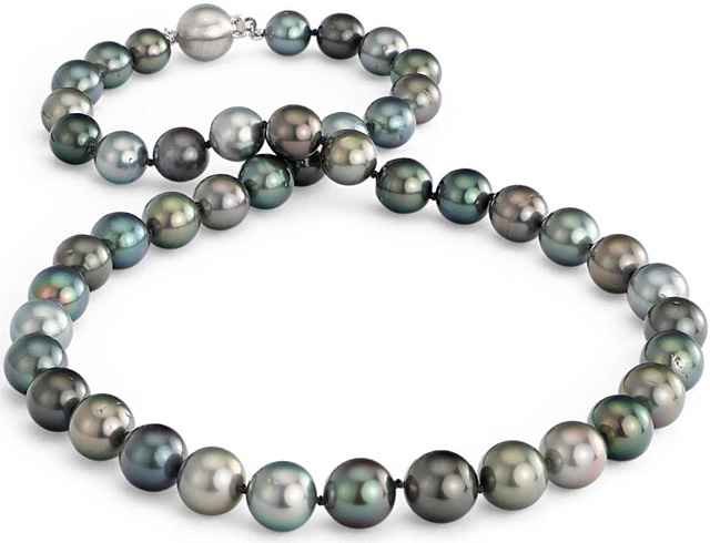 A Stunning Multi-Color Tahitian Cultured Pearl Necklace