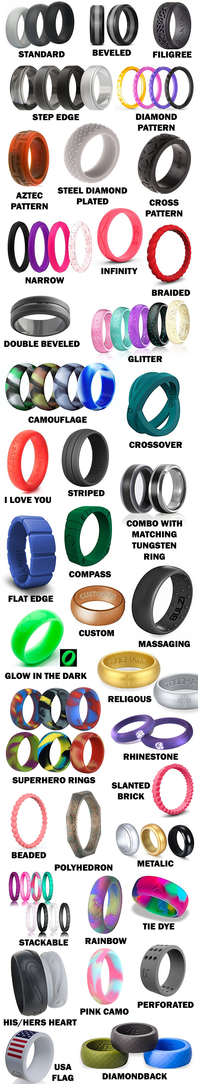 All The Different Styles Of Silicone Wedding Rings