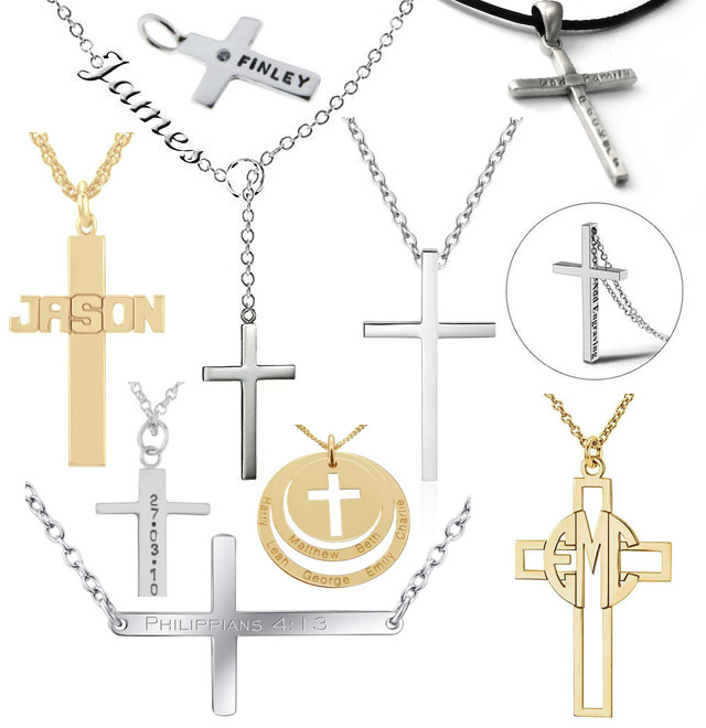 Custom Cross Religious Name Pendant Necklaces