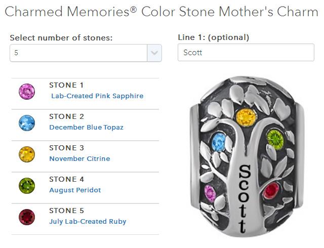 Custom Family Birthstone Mothers Charm Bead