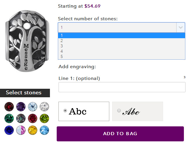 Customize Your Mothers Charm Bead With Family Birthstones