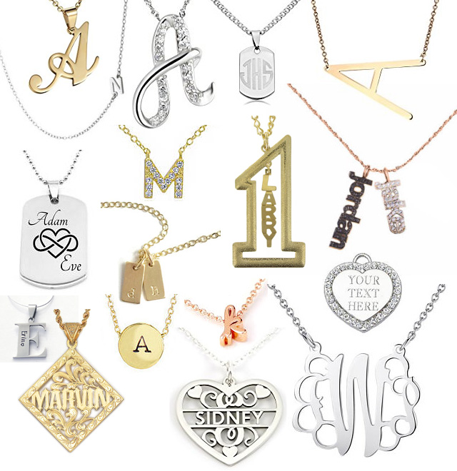 Letter Initial Monogram Name Pendants