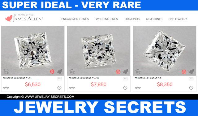 Super Ideal Cut Princess Diamonds High Clarity Color Very Rare