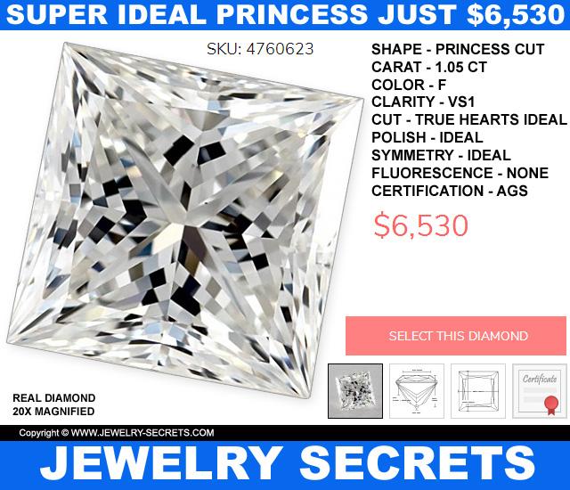 Super Ideal Princess Cut Diamond VS1 F Just 6530