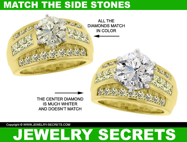 Try to match the center diamond with the side diamond color and clarity