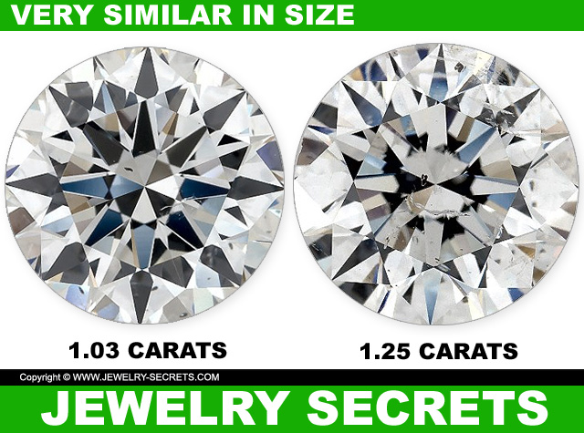 Two Different Diamond Carat Weights Similar In Appearance And Size