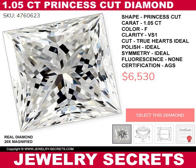 Ideal Cut Triple 0 Princess Cut True Hearts Diamond
