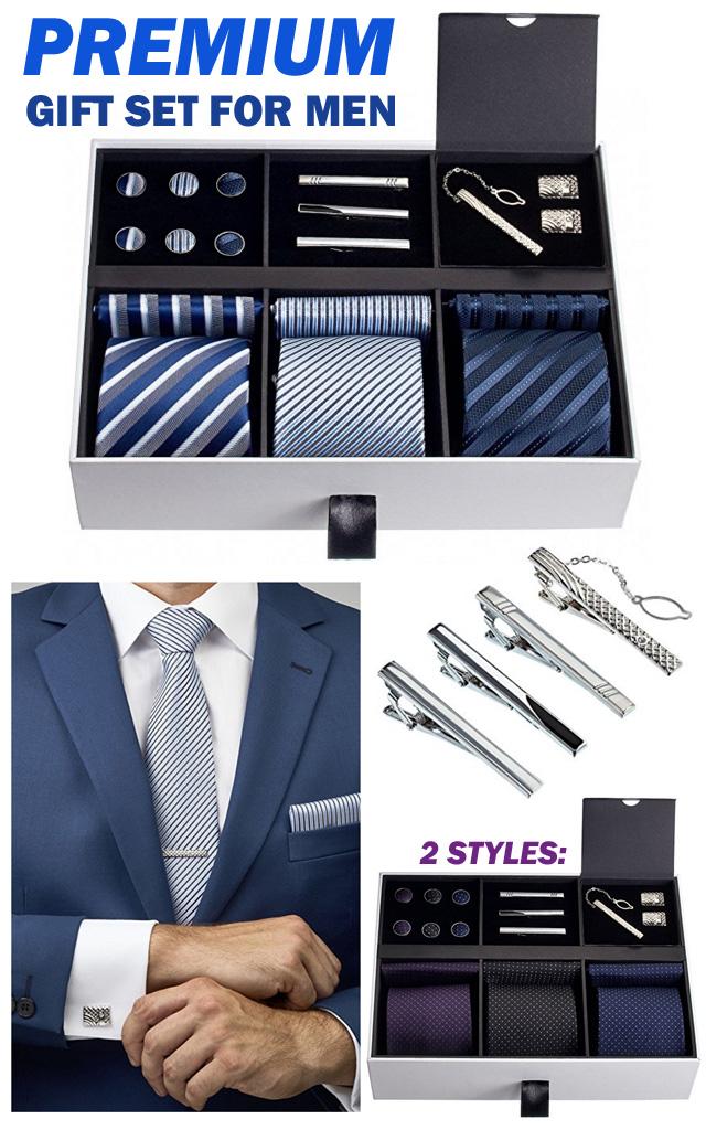 Mens Premium Tie Cufflink Gift Set