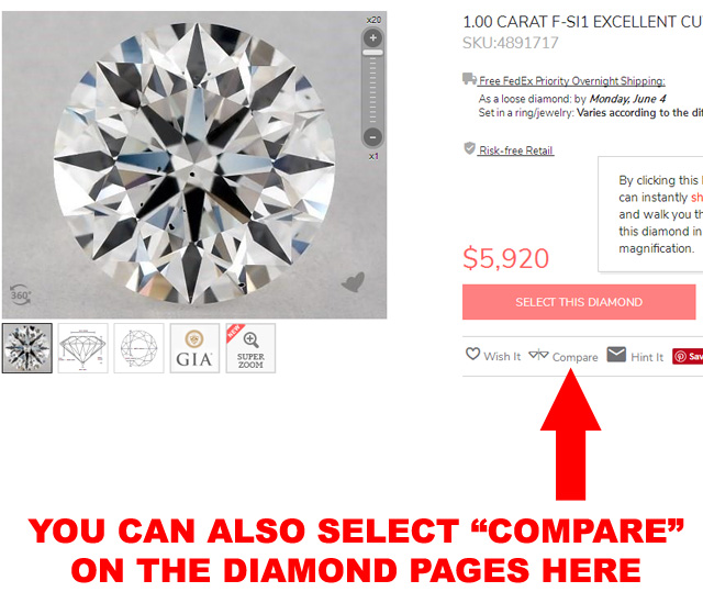 Compare diamonds on the diamond product page here