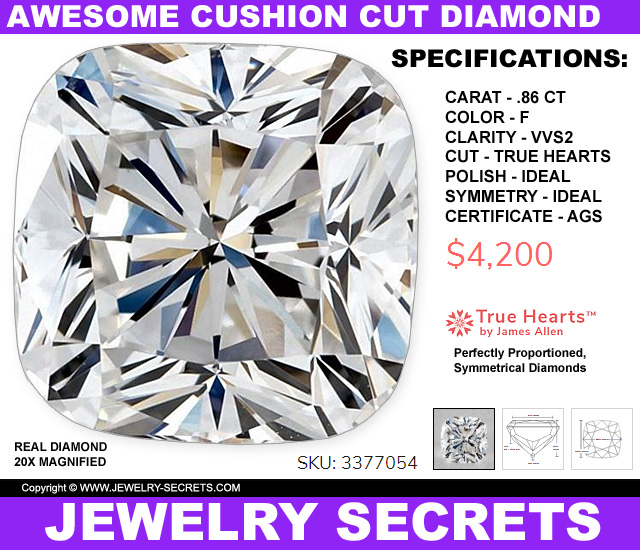 Perfectly Proportioned Symmetrical Cushion Cut Diamond