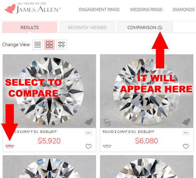Select to compare diamonds quality and prices