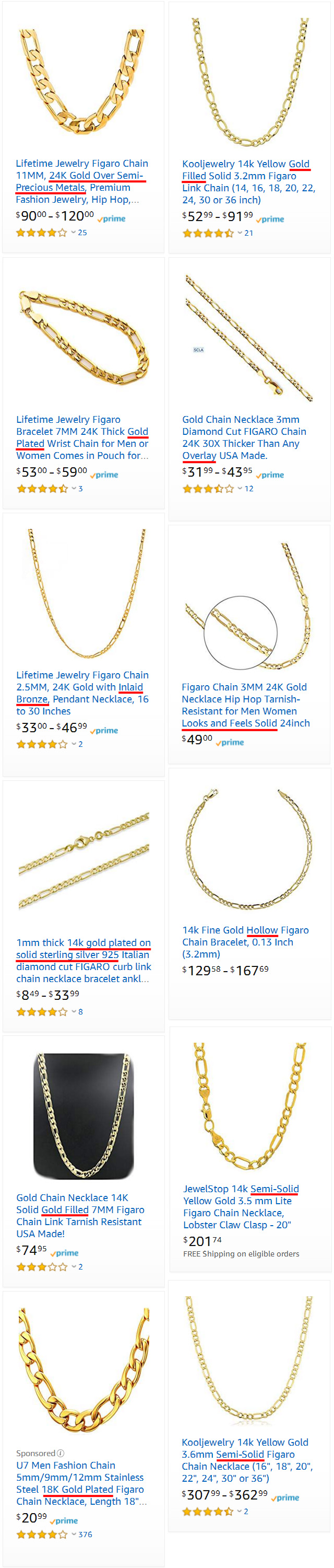 Semi-Solid Plated Hollow Gold Chains