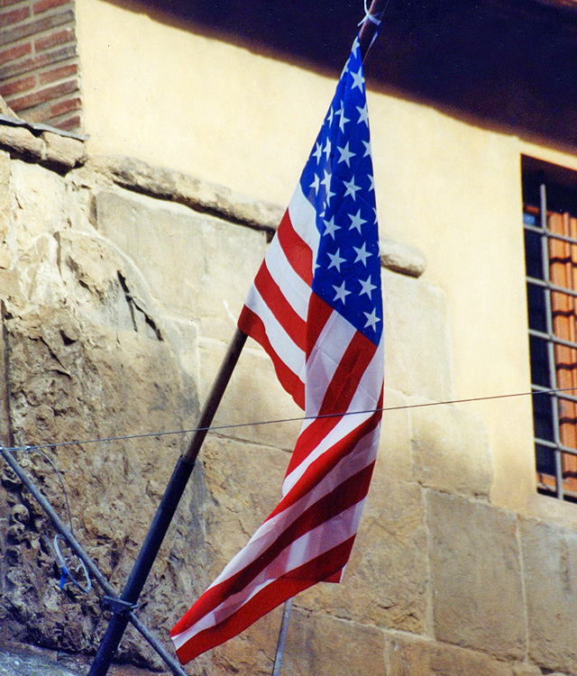 American Flag Hanging in Venice