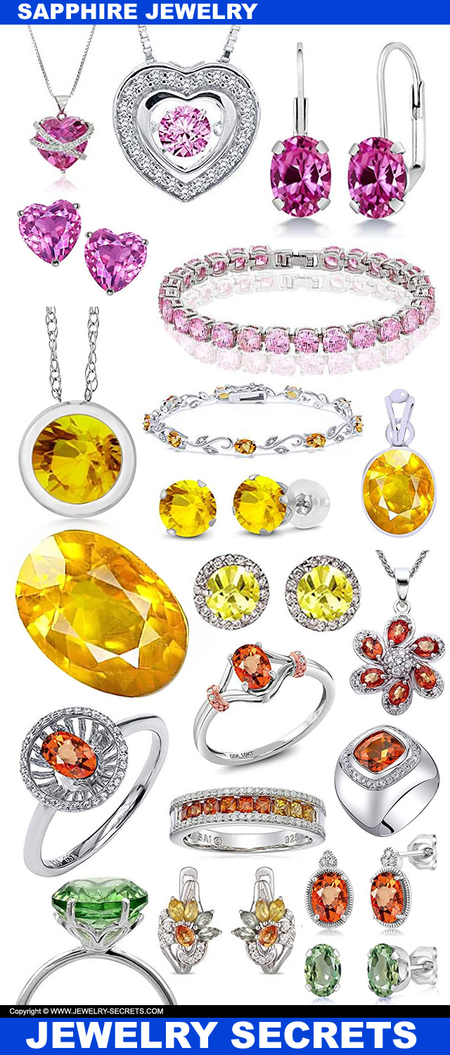 Pink Yellow Orange Green Sapphire Jewelry