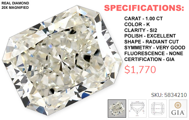 A 1 Carat Radiant Cut Diamond For 1770