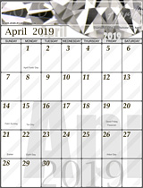 Free April Calendar 2019