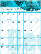 Free December Calendar 2019