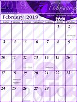 Free February Calendar 2019