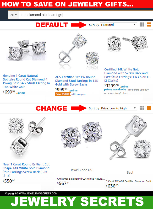Save Money Buying Jewelry On Amazon By Sorting Low Price To High