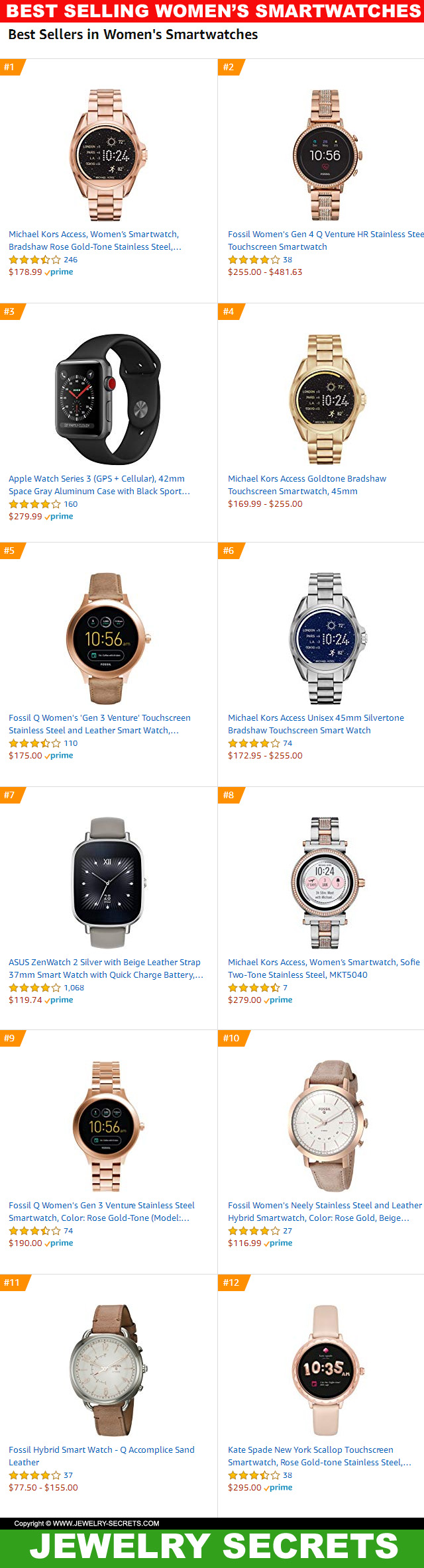 Top 12 Best Selling Womens Smartwatches