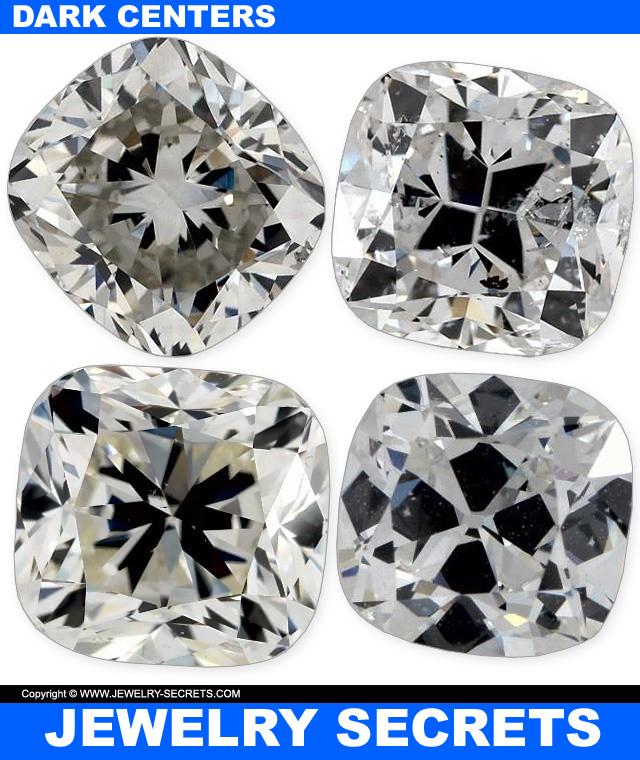 Lumpy Cushion Cut Diamonds Dark Centers