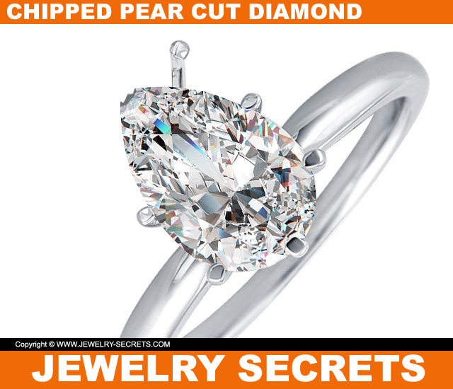 Chipped Pear Cut Diamond Engagement Ring