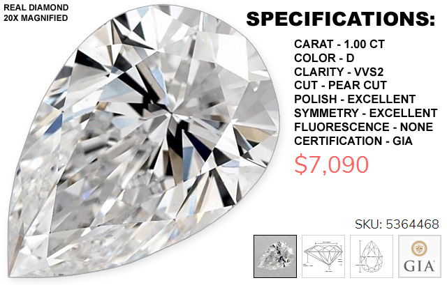Pear Shaped Diamond VVS2 D 1 Carat