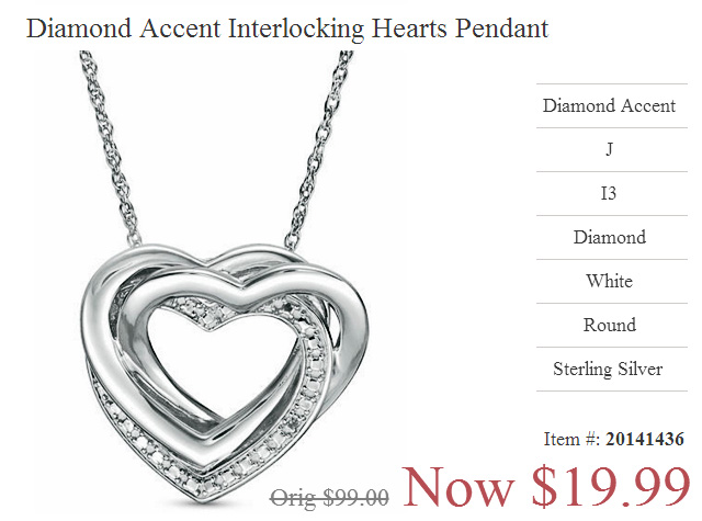 Valentines Day 2019 Diamond Heart Pendant Just Twenty Dollars