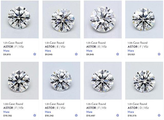 1 Carat VS2 E Loose Certified Astor Cut Ideal Diamonds
