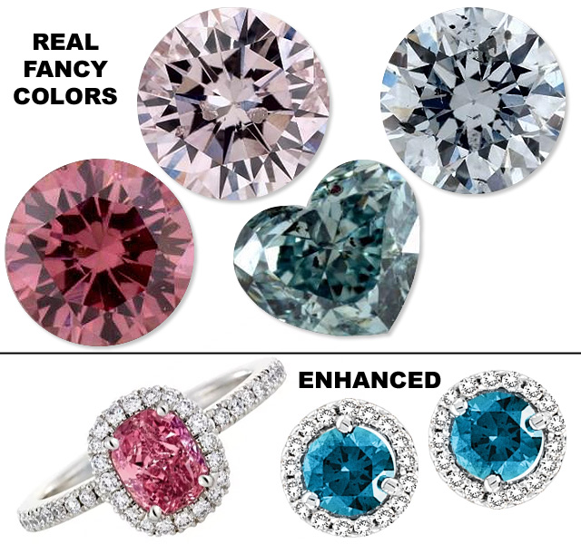 Compare Real Fancy Colors to Color Enhanced Diamonds