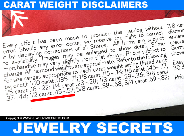 Diamond Carat Weight Disclaimers