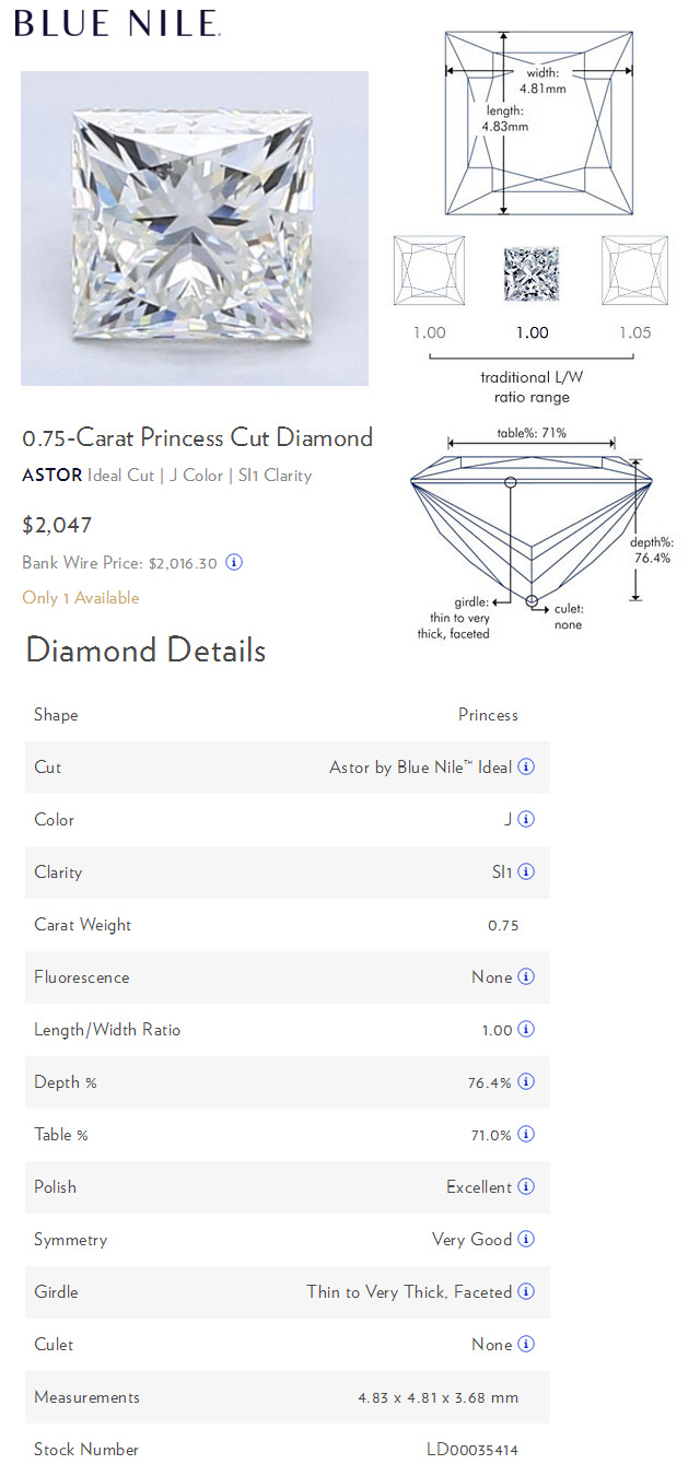 Blue Nile Three Quarter Carat Princess Cut Comparison