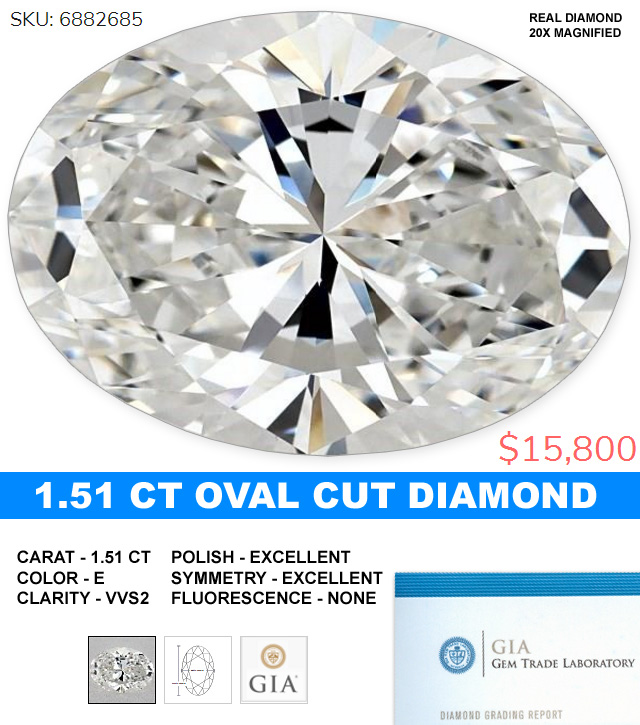 Huge Stunning Oval Cut Diamond Excellent