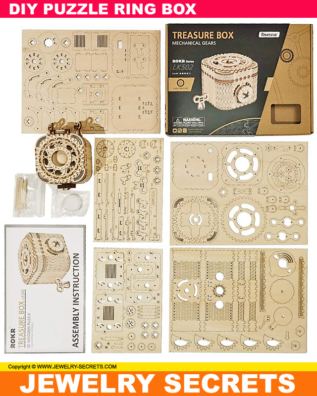 3D Wooden Puzzle Ring Box Pieces