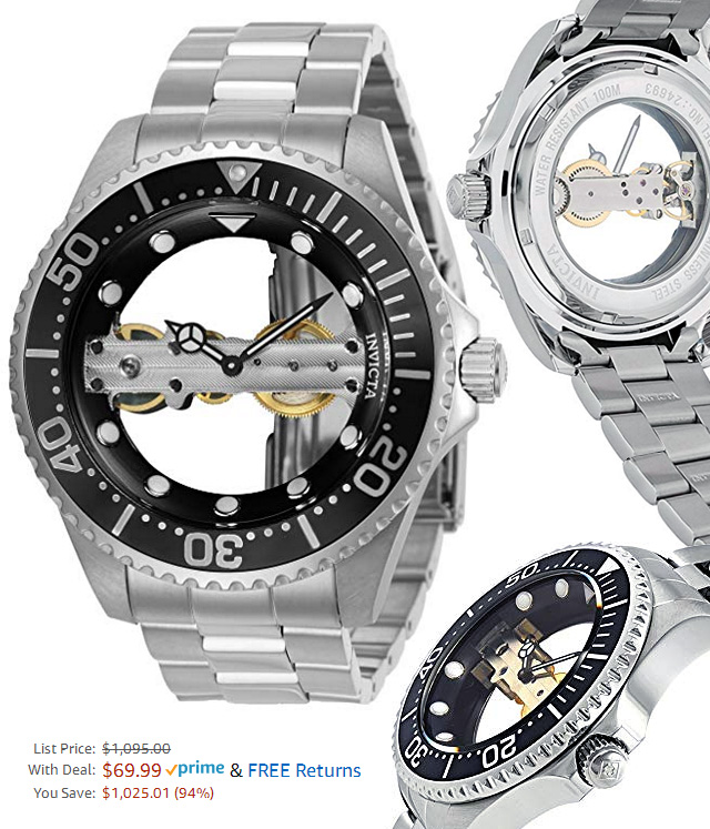 94 Percent Off This Invicta Mens Pro Diver Steel Mechanical Wrist Watch