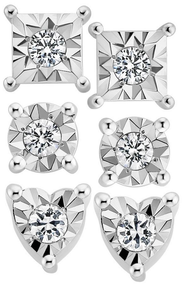 3 Pairs Of Genuine Diamond Stud Earrings For Just 149 Dollars
