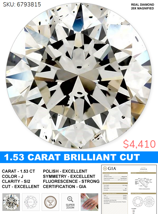 Diamond Deal Of The Day Huge 153 Round Brilliant Cut Diamond For 4410