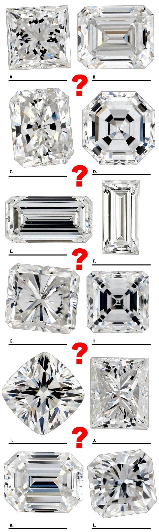 Different Square Cut Diamonds