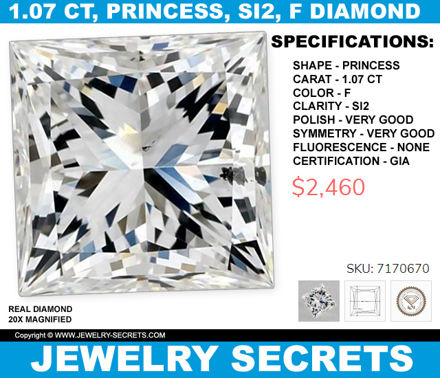 107 Princess Cut Diamond SI2 F For Only 2460