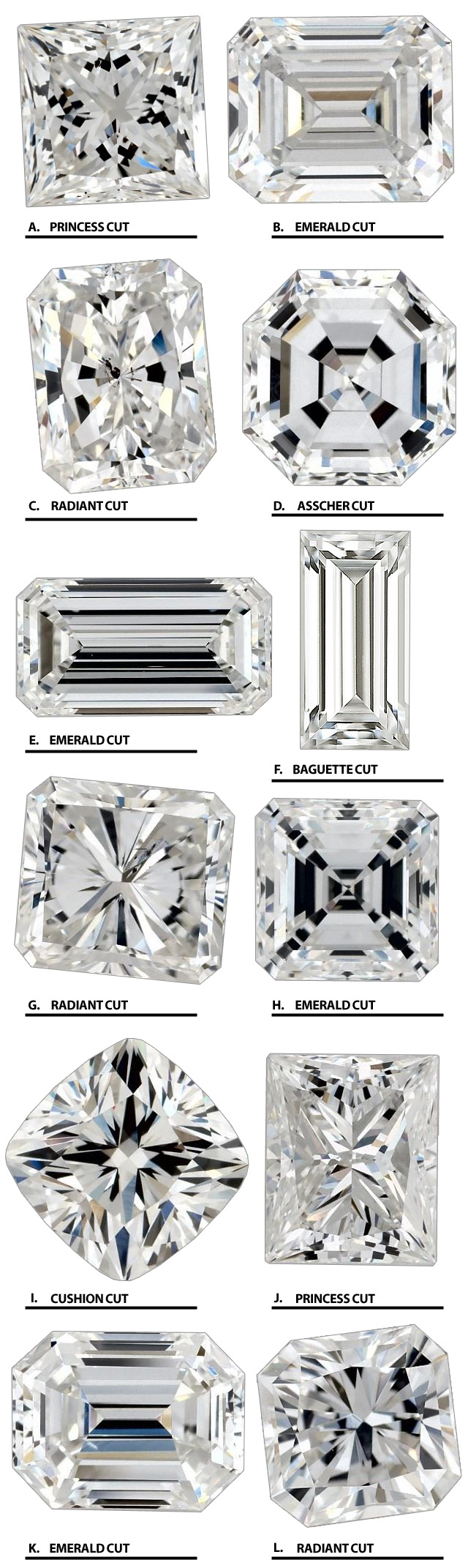 Square Cut Diamonds Radiant Princess Emerald Asscher Baguette