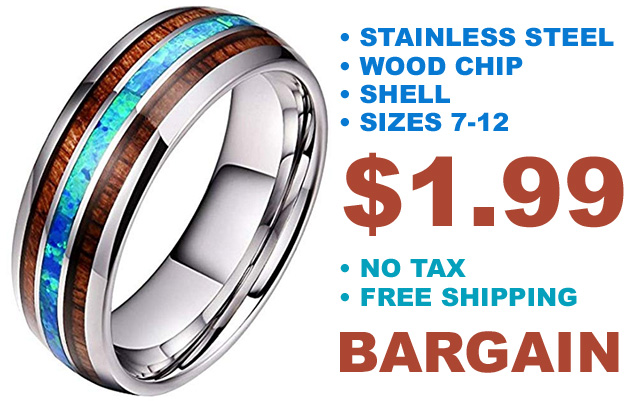 Stainless Steel Wood Ring Deal for Just 199