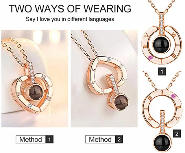 2 Ways Of Wearing The I Love You 100 Languages Pendant