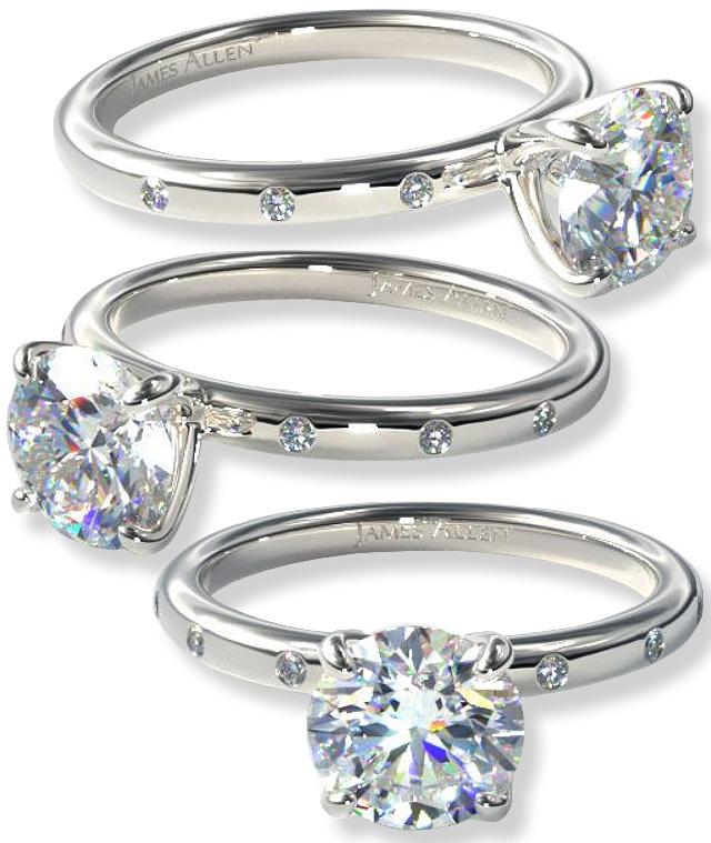 Beautiful Engagement Ring With Flush Set Diamonds