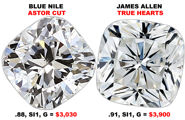 Compare Astor Cut Cushion Cut Diamonds To True Hearts Diamonds