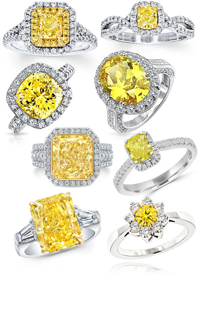 Stunning Enhanced Yellow Diamond Rings